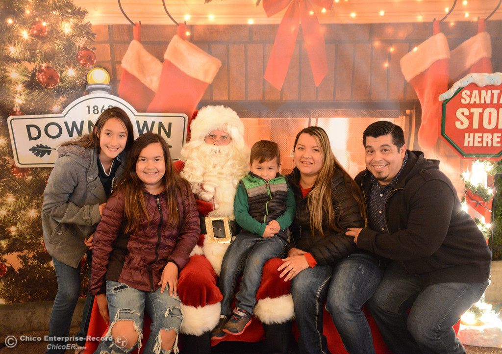 . Families visit with Santa Claus during the lighting of the Annual Community Christmas Tree Friday December 1, 2017 in Chico, California. (Emily Bertolino -- Enterprise-Record)