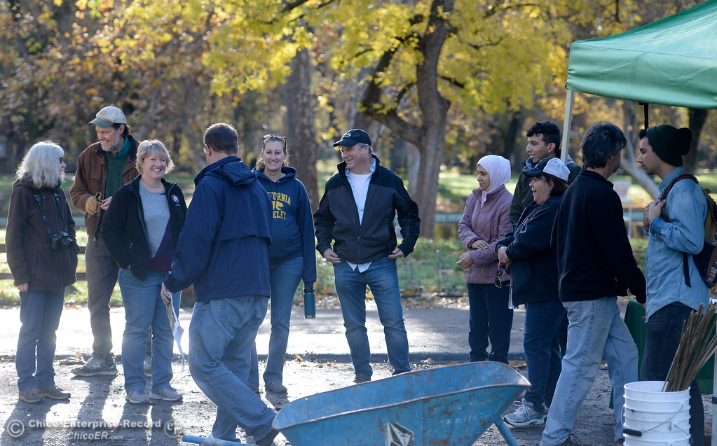 . Chico Tree Advocates, the City of Chico and several volunteer tree planters get ready to plant Valley Oak acorns around One Mile Recreation Area of Bidwell Park Tues. Nov. 28, 2017. (Bill Husa -- Enterprise-Record)