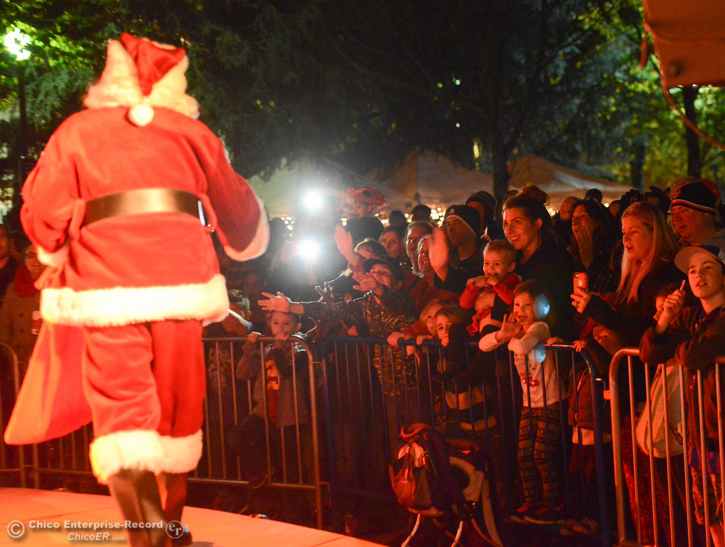 . Santa Claus comes to visit during the lighting of the Annual Community Christmas Tree Friday December 1, 2017 in Chico, California. (Emily Bertolino -- Enterprise-Record)