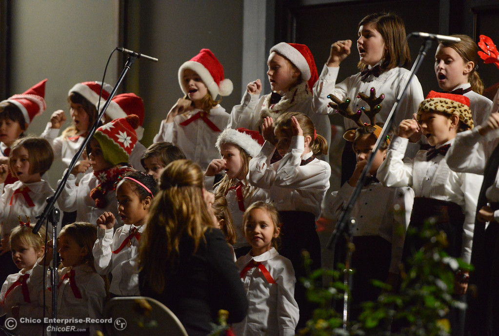 . The Children\'s Choir of Chico performs during Enloe\'s annual tree lighting ceremony Tuesday November 28, 2017 in Chico, California. (Emily Bertolino -- Enterprise-Record)