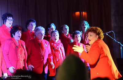 The Sounds of the Valley Women's Chorus and Children's Choir of Chico sings before the 95-foot redwood tree behind the City Plaza stage lights up Friday, Dec. 2, 2016 in Chico, California. For the past three years, the tree has been decorated by M&S Wesley Tree Service, which has donated staff time and equipment to keep the annually awaited community event going, but this year the city's Public Works Department took over decorating duties. (Dan Reidel -- Enterprise-Record)