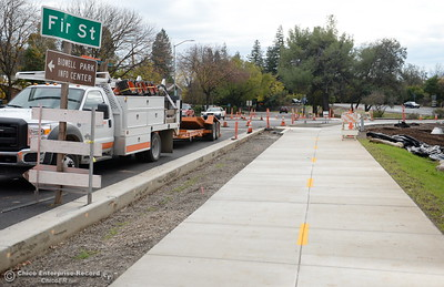 A section of class 1 bike path is seen here in between lanes of Hwy. 32 along the Hwy. 99 bike path under construction near Fir St. in Chico, Calif. Wed. Nov. 30, 2016. (Bill Husa -- Enterprise-Record)