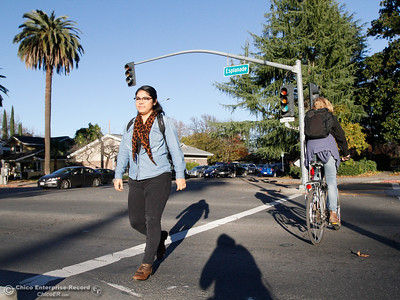 Monica Vega crosses the cross walk at the Esplanade and Memorial December 1, 2016 in Chico, California. The has gotten a 7 billion dollar grant to make changes along the Esplanade. (Emily Bertolino -- Enterprise-Record)