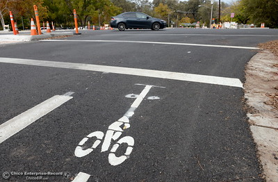 Bike path loop detectors will trigger lights for crossing Hwy. 32 along the Hwy. 99 bike path under construction near Hwy. 32 and Fir St. in Chico, Calif. Wed. Nov. 30, 2016. (Bill Husa -- Enterprise-Record)