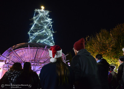 The 95-foot redwood tree behind the City Plaza stage lights up Friday, Dec. 2, 2016 in Chico, California. For the past three years, the tree has been decorated by M&S Wesley Tree Service, which has donated staff time and equipment to keep the annually awaited community event going, but this year the city's Public Works Department took over decorating duties. Before the lighting ceremony, the Sounds of the Valley Women's Chorus and Children's Choir of Chico sang Christmas carols and Santa Claus arrived on a vintage fire engine. (Dan Reidel -- Enterprise-Record)