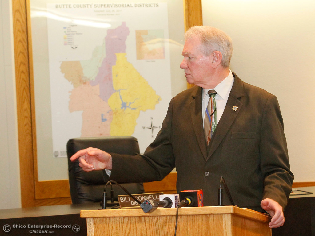 . Butte County District Attorney Mike Ramsey calls on an Enterprise-Record reporter for a question as he discusses the lawsuit his office is bringing against the California Department of Water Resources during a press conference Wednesday, Feb. 7, 2018, in Oroville, California. (Dan Reidel -- Enterprise-Record)