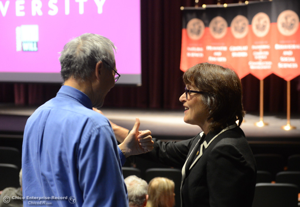 . Chico State University President Gayle Hutchinson, right, gets a thumbs up from a supporter before she gives the state of the university speech Monday, Feb. 5, 2018, in Chico, California. (Dan Reidel -- Enterprise-Record)