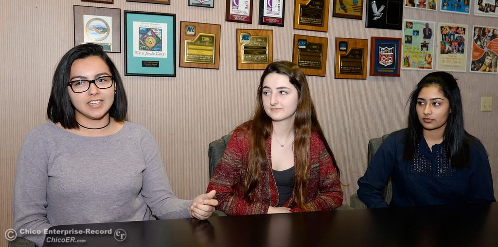 . Victoria Villasenor, Erika Schroth and Puneet Mann, left to right who attended Tech Trek as eighth graders and are now junior conselors, talk about the science camp for eighth grade girls. (Bill Husa -- Enterprise-Record)