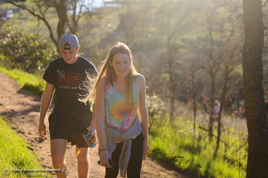 . Joey Dupzyk and Elise Ericson take a hike up to Monkey Face, Thursday, February 8, 2018, in Chico, California. (Carin Dorghalli -- Enterprise-Record)