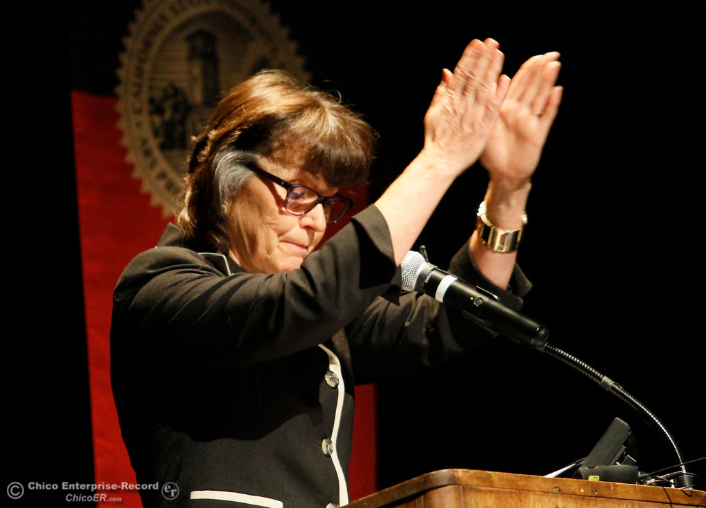 . Chico State University President Gayle Hutchinson signals the audience to clap as she gives the state of the university speech Monday, Feb. 5, 2018, in Chico, California. (Dan Reidel -- Enterprise-Record)