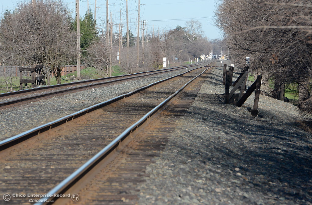 . A fire damaged a railroad trestle over Comanche Creek Tues. south of Chico, Calif. Tuesday morning but Union Pacific crews are on scene working on it and a train was seen crossing it around 9:30 a.m. Tues. Feb. 6, 2018 . (Bill Husa -- Enterprise-Record)