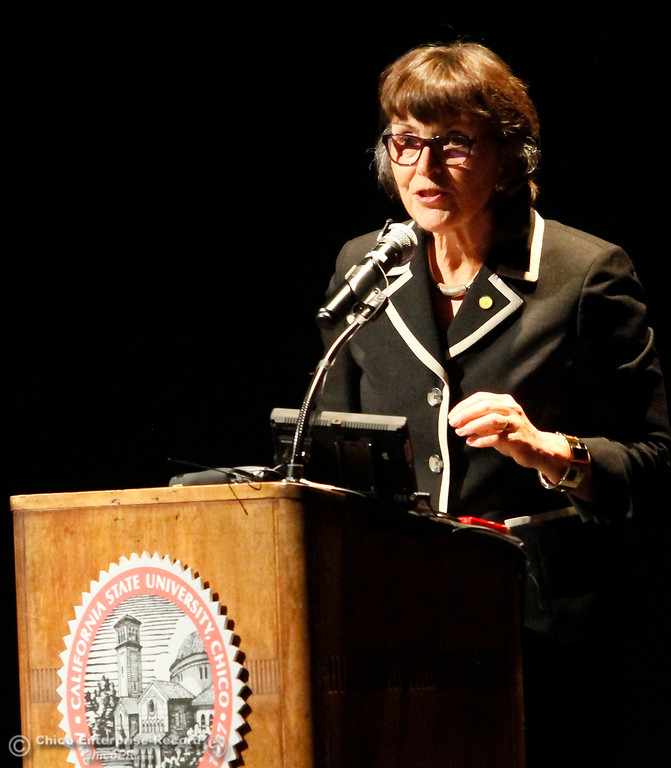 . Chico State University President Gayle Hutchinson gives the state of the university speech Monday, Feb. 5, 2018, in Chico, California. (Dan Reidel -- Enterprise-Record)