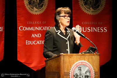 Chico State University President Gayle Hutchinson gives the state of the university speech Monday, Feb. 5, 2018, in Chico, California. (Dan Reidel -- Enterprise-Record)