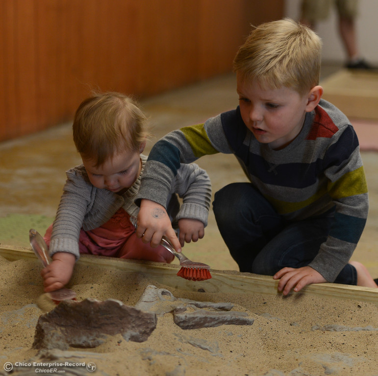 . Colby O\'Donnell and her brother, Davis O\'Donnell, look for fossils during the Jurassic Tour, Saturday, February 10, 2018, in Chico, California. (Carin Dorghalli -- Enterprise-Record)