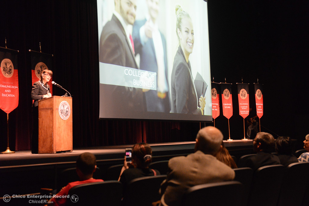 . Chico State University President Gayle Hutchinson, left, talks about the accomplishments of different school organizations, including the College of Business, as she gives the state of the university speech Monday, Feb. 5, 2018, in Chico, California. (Dan Reidel -- Enterprise-Record)