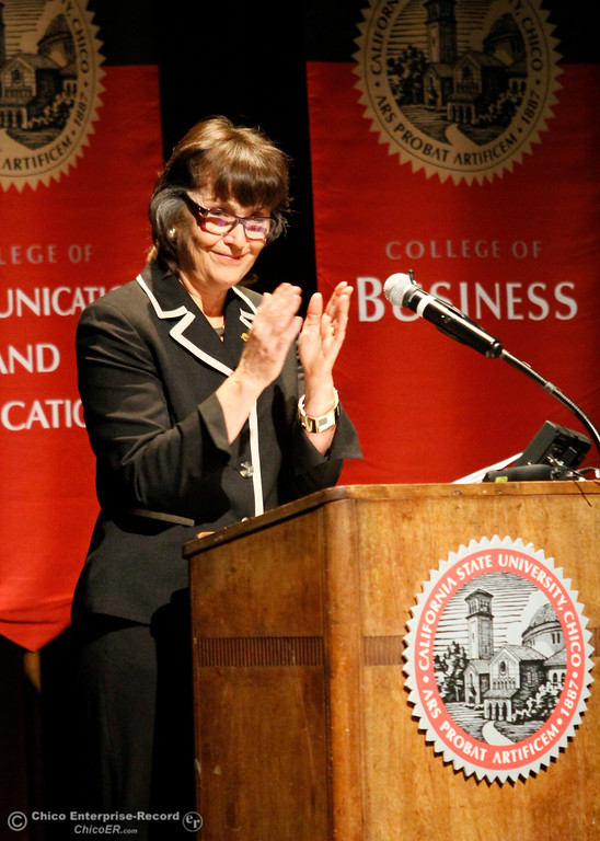 . Chico State University President Gayle Hutchinson signals for applause as she gives the state of the university speech Monday, Feb. 5, 2018, in Chico, California. (Dan Reidel -- Enterprise-Record)