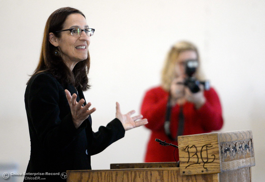 ". Butte College President Dr. Samia Yaqub talks about the new Automotive Diesel Program at the Butte College Chico Center in Chico, Calif. Wednesday Feb. 14, 2018. The group also started the demolition process with a ceremonial ""wall breaking\"" by President Yaqub and several others. (Bill Husa -- Enterprise-Record)"