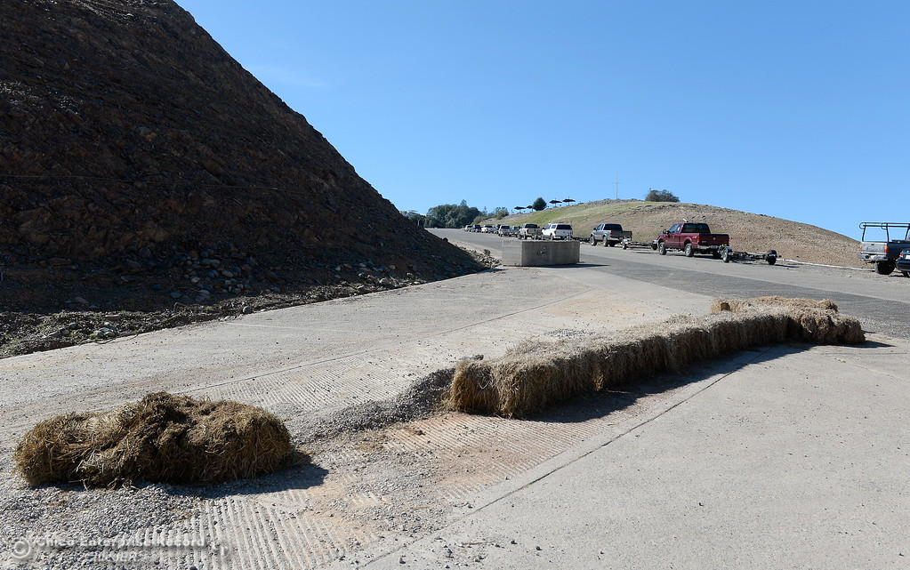 . Some hay bales and a concrete block need to be navigated around to launch at the Lime Saddle Marina boat launching facility on Lake Oroville in Paradise, Calif. Friday Feb. 16, 2018. (Bill Husa -- Enterprise-Record)