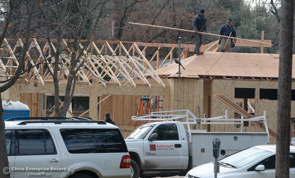 . Construction is underway on a home near Chico High School Wednesday Feb. 14, 2018.  (Bill Husa -- Enterprise-Record)