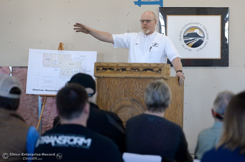 ". Rog Holt talks about the new Automotive Diesel Program at the Butte College Chico Center in Chico, Calif. Wednesday Feb. 14, 2018. The group also started the demolition process with a ceremonial ""wall breaking\"" by President Yaqub and several others. (Bill Husa -- Enterprise-Record)"