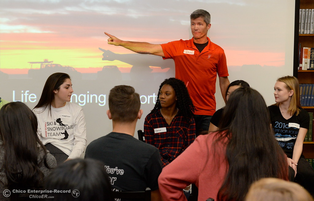. Lain Hensley, Founder of Odysey Teams teaches Pleasant Valley High and Chico High School students enrolled in the capstone course of the medical pathway how to build articulated hands to be donated to children abroad Wednesday Feb. 14, 2018.  (Bill Husa -- Enterprise-Record)