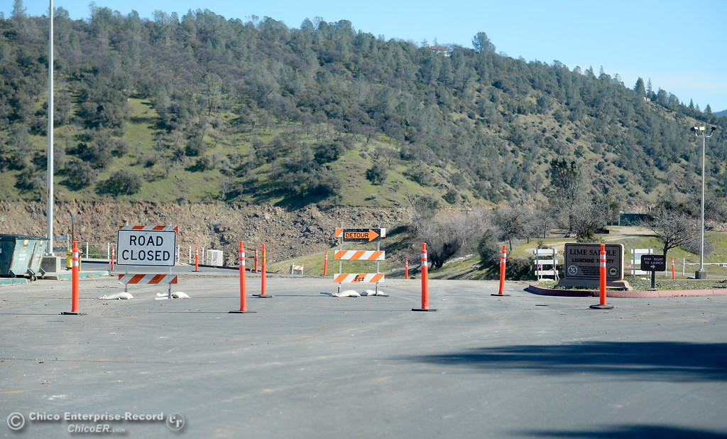. Although ongoing construction has part of the road closed, the boat launch is open at the Lime Saddle Marina boat launching facility on Lake Oroville in Paradise, Calif. Friday Feb. 16, 2018. (Bill Husa -- Enterprise-Record)