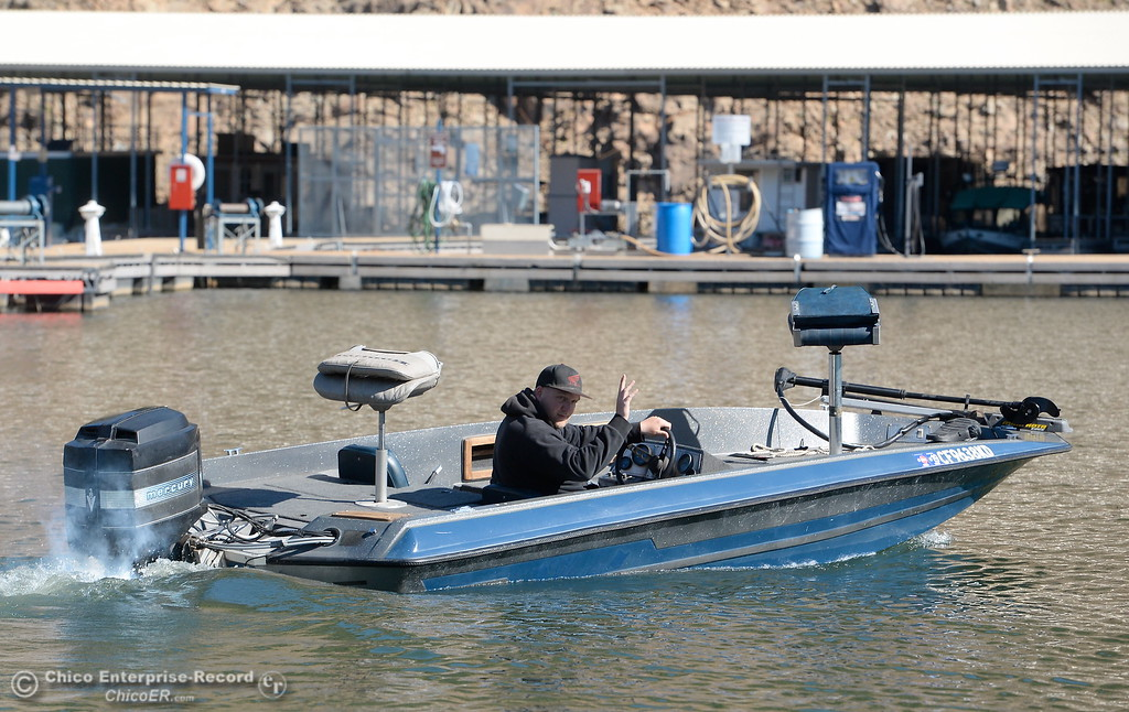 ". Dave Dorsey of Paradise heads out fishing from the Lime Saddle Marina boat launching facility on Lake Oroville in Paradise, Calif. Friday Feb. 16, 2018. Dorsey said the fishing has been slow and he has been catching only small fish recently but was happy the Lime Saddle ramp was open for him to launch. ""I was getting tired of going to Bidwell every time\"" said Dorsey. (Bill Husa -- Enterprise-Record)"