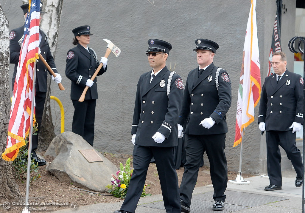 . Chico Firefighters remember the on-duty death of Fire Marshal Ray Head on this day in 1970 at the site of a memorial plaque in his honor along Broadway Street in downtown Chico, Calif. Wednesday Feb. 14, 2018. (Bill Husa -- Enterprise-Record)