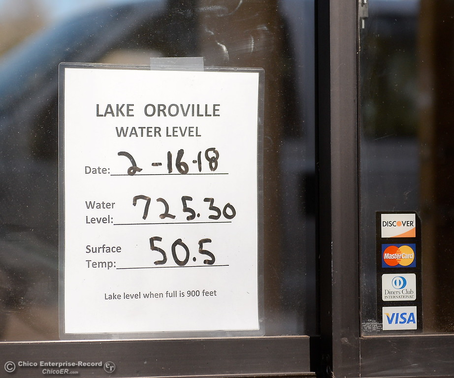 . A sign posted in the window at the entrance to the Lime Saddle Marina boat launching facility says the water level today is 725.30 on Lake Oroville in Paradise, Calif. Friday Feb. 16, 2018. The lake level when full is 900 feet. (Bill Husa -- Enterprise-Record)