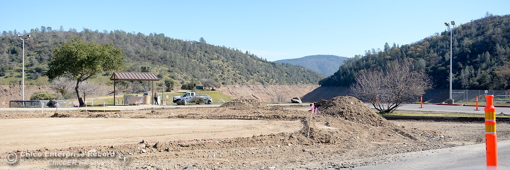 . Construction is seen in the upper parking lot at the Lime Saddle Marina boat launching facility on Lake Oroville in Paradise, Calif. Friday Feb. 16, 2018. The boat launch is open Friday. (Bill Husa -- Enterprise-Record)