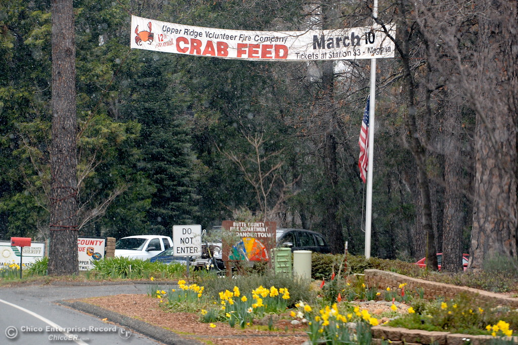 . A sign is seen advertising the upcoming Upper Ridge Volunteer Fire Company Crab Feed on March 10th seen Thursday morning Feb. 22, 2018.  (Bill Husa -- Enterprise-Record)