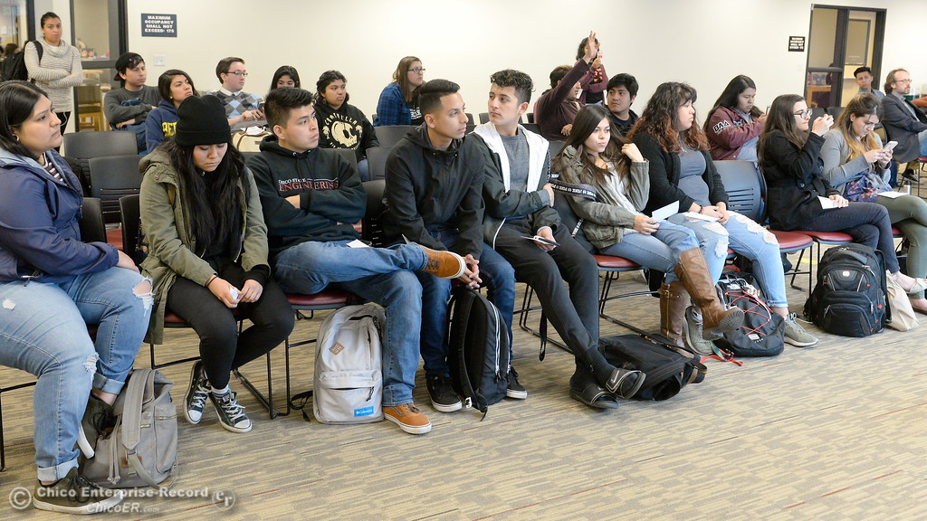 . Students listen as Students for Quality Education (SQE) at Chico State speak during a press conference and panel discussion regarding the recent CSU-wide tuition increase, rent increase and financial aid scarcity Thursday Feb. 22, 2018.  (Bill Husa -- Enterprise-Record)