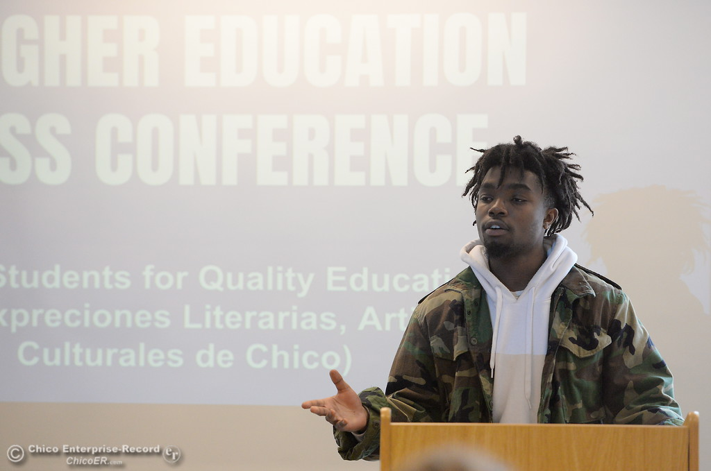 . Nathaniel Nevels speaks along with other Students for Quality Education (SQE) at Chico State speak during a press conference and panel discussion regarding the recent CSU-wide tuition increase, rent increase and financial aid scarcity Thursday Feb. 22, 2018.  (Bill Husa -- Enterprise-Record)