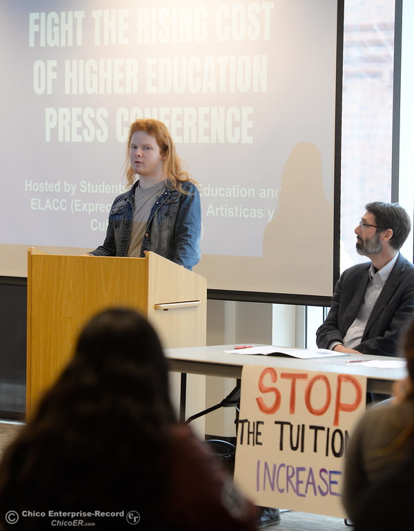 . Butte College student Robin Miki speaks along with students for Quality Education (SQE) at Chico State during a press conference and panel discussion regarding the recent CSU-wide tuition increase, rent increase and financial aid scarcity Thursday Feb. 22, 2018.  (Bill Husa -- Enterprise-Record)