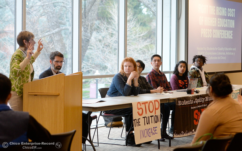 . PhD. Mimi Bommersbach speaks along with students for Quality Education (SQE) at Chico State during a press conference and panel discussion regarding the recent CSU-wide tuition increase, rent increase and financial aid scarcity Thursday Feb. 22, 2018.  (Bill Husa -- Enterprise-Record)