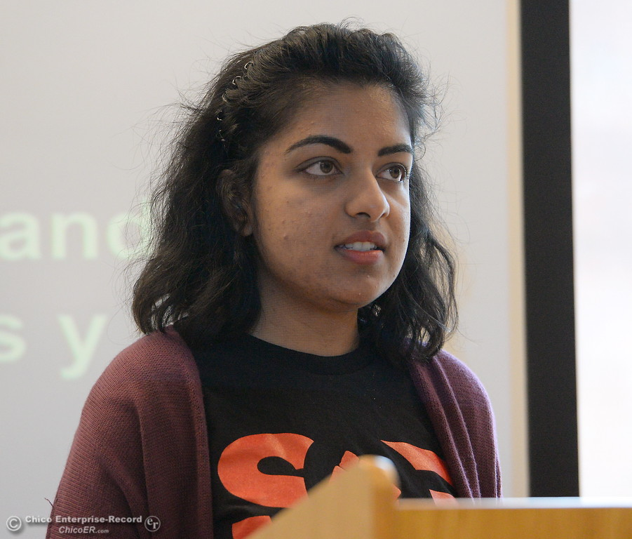 . Radhika Kataria speaks along with other Students for Quality Education (SQE) at Chico State speak during a press conference and panel discussion regarding the recent CSU-wide tuition increase, rent increase and financial aid scarcity Thursday Feb. 22, 2018.  (Bill Husa -- Enterprise-Record)