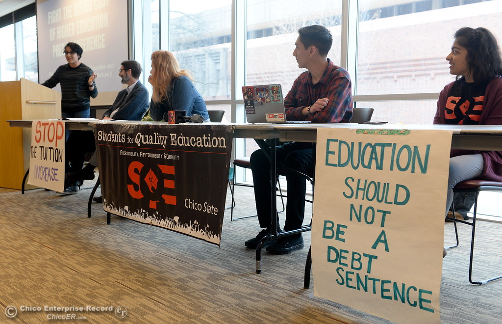 . Maradith Berdeja speaks along with other students for Quality Education (SQE) at Chico State during a press conference and panel discussion regarding the recent CSU-wide tuition increase, rent increase and financial aid scarcity Thursday Feb. 22, 2018.  (Bill Husa -- Enterprise-Record)