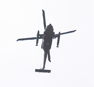 Three helicopters are seen leaving the Chico Airport around 11:30 a.m. Friday Feb. 3, 2017. (Bill Husa -- Enterprise-Record)
