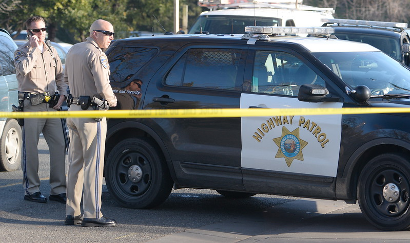 The Butte County Inter-Agency Bomb Squad was called out after CHP first reported a suspicious device near the entrance to Beatniks on E. 8th St. in Chico, Calif. Mon. Jan. 30, 2017. E. 8th Street was closed for roughly two hours until after the bomb technicians detonated a water charge on the device.  (Bill Husa -- Enterprise-Record)