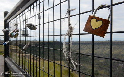 "Locks of every shape, size, brand and style have been accumulating on the barrier fence at Lookout Point since shortly after the fence was erected. They've been known as ""Locks of Love"" or ""Love Locks"" by some. Many are marked with messages or decorated in one way or another dedicated to a lover, a friend or a relative who has passed. (Bill Husa -- Enterprise-Record)"