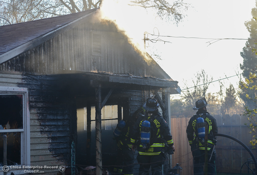 . Fire put out on Stanley Ave, March 10, 2018, in Chico, California. (Carin Dorghalli -- Enterprise-Record)
