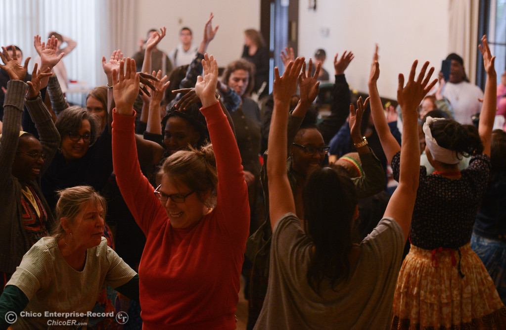 . The crowd gathers to dance during a Women\'s Day event at the Chico Women\'s Club, Saturday, March 10, 2018, in Chico, California. (Carin Dorghalli -- Enterprise-Record)