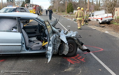 The driver of a Geo Prism died following a collision with a Cal Fire Utility pickup near Keefer Rd. on northbound Hwy. 99 in Chico, Calif. Friday March 9, 2018. Cal Fire Public Information Officer Rick Carhart said the driver of the Cal Fire truck sustained moderate injuries and the passengers injuries were described as minor.  (Bill Husa -- Enterprise-Record)