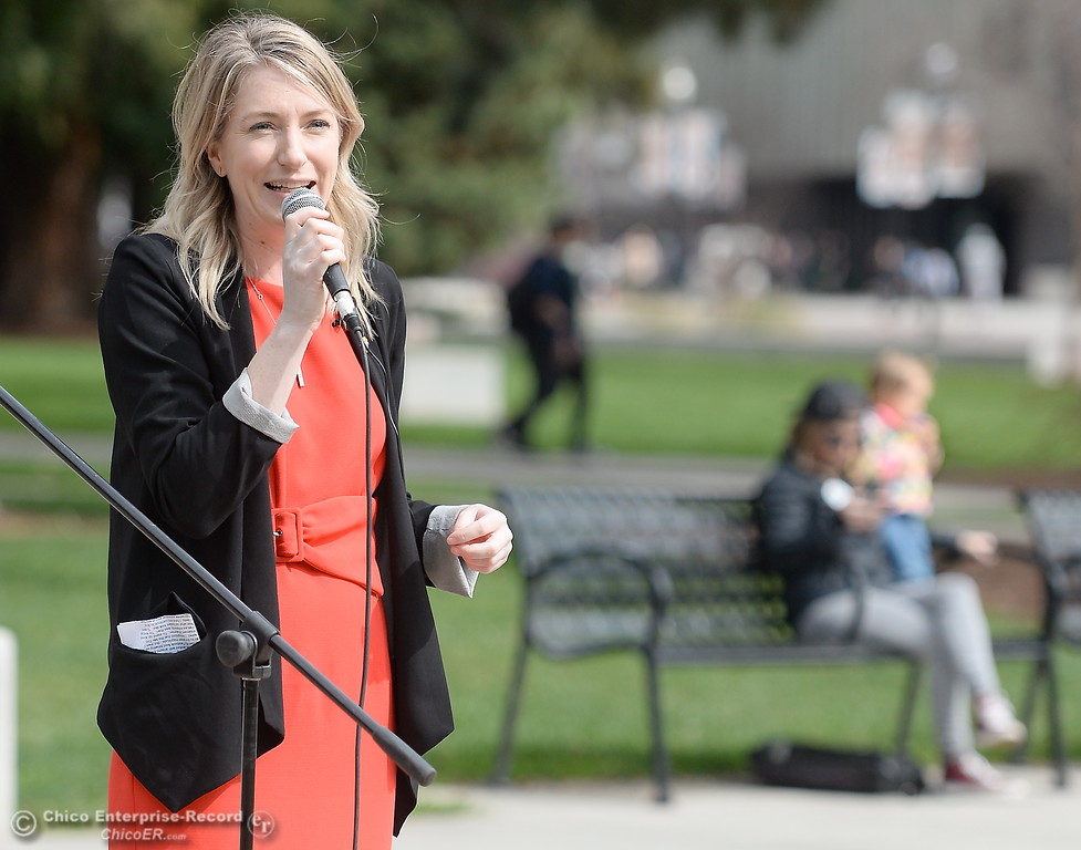 . Audrey Denney, a candidate for Congress speaks during the International Women\'s Day rally and celebration at CSUC Thurs. March 8, 2018. (Bill Husa -- Enterprise-Record)
