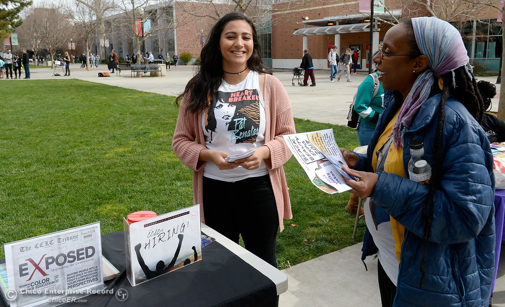 . Mitzi Felix at left talks with Emmanuelle Sainte during International Women\'s Day rally and celebration at CSUC Thurs. March 8, 2018. (Bill Husa -- Enterprise-Record)
