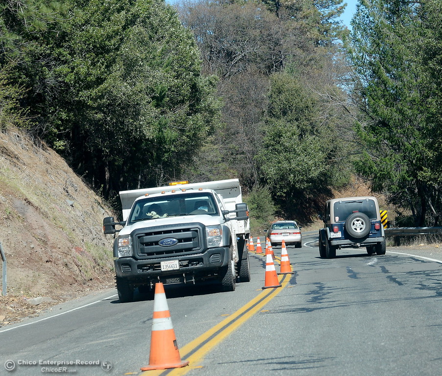 . One lane of traffic is allowed to continue up Skyway toward Magalia as construction is underway between Coutolenc Rd. and Old Skyway along New Skyway Tues. March 6, 2018. (Bill Husa -- Enterprise-Record)