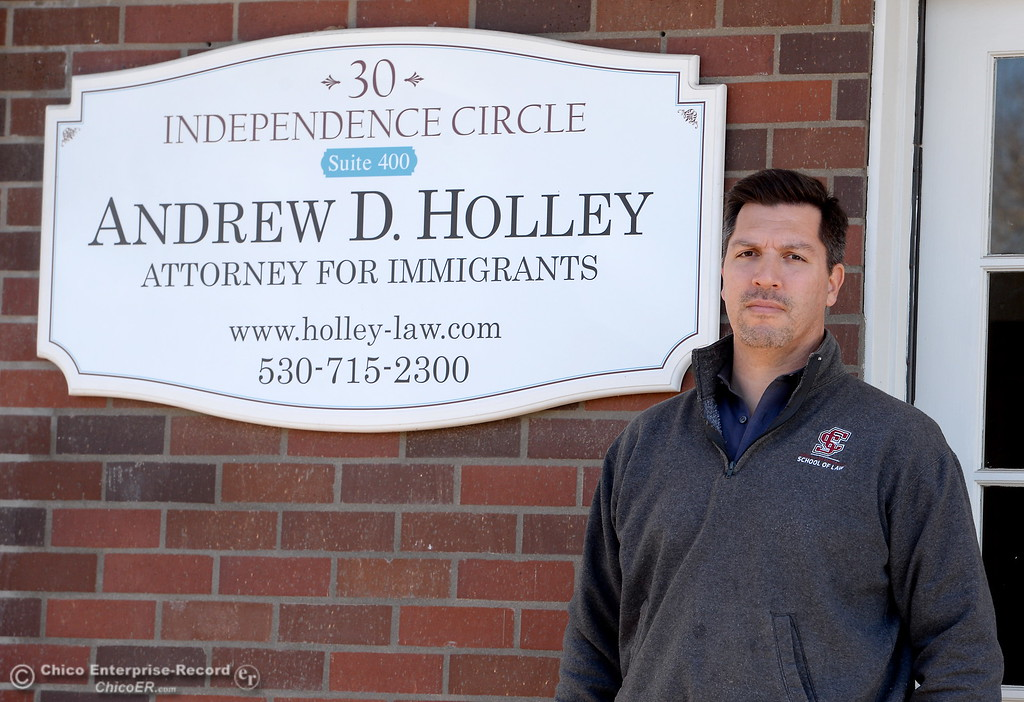 . Office of Immigration Attorney Andrew Holley stands by his front office in Chico, Calif. Mon. March 5, 2018. Holley said he has been getting a lot of calls about arrests in the area this month: eight in the past two weeks. (Bill Husa -- Enterprise-Record)