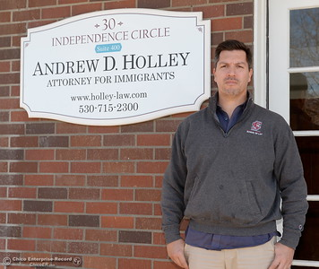 Office of Immigration Attorney Andrew Holley stands by his front office in Chico, Calif. Mon. March 5, 2018. Holley said he has been getting a lot of calls about arrests in the area this month: eight in the past two weeks. (Bill Husa -- Enterprise-Record)