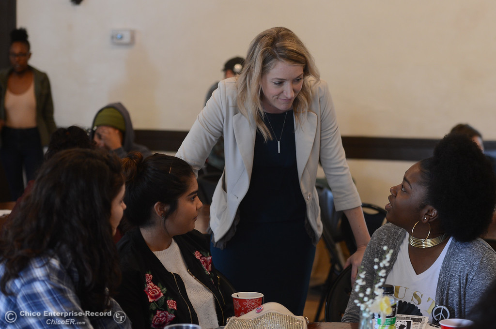 . Audrey Denney talks to Morgan Tanskley, Sonya Ayala, Ka Lynda Watts during a Women\'s Day event at the Chico Women\'s Club, Saturday, March 10, 2018, in Chico, California. (Carin Dorghalli -- Enterprise-Record)