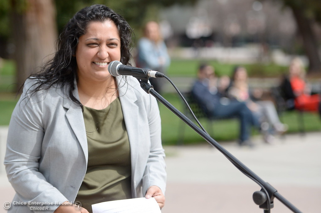 . Sonia Aery, a candidate for Assembly speaks to a small crowd during the International Women\'s Day rally and celebration at the free speech area of CSUC campus Thurs. March 8, 2018. (Bill Husa -- Enterprise-Record)